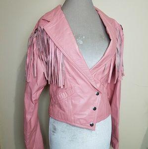 Vintage Pink Leather Fringe Concho Moto Jacket